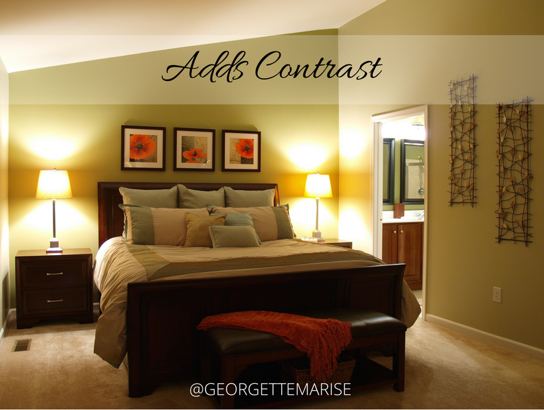 We gave this master bedroom a slight contrast by painting a darker hue on the focal wall.