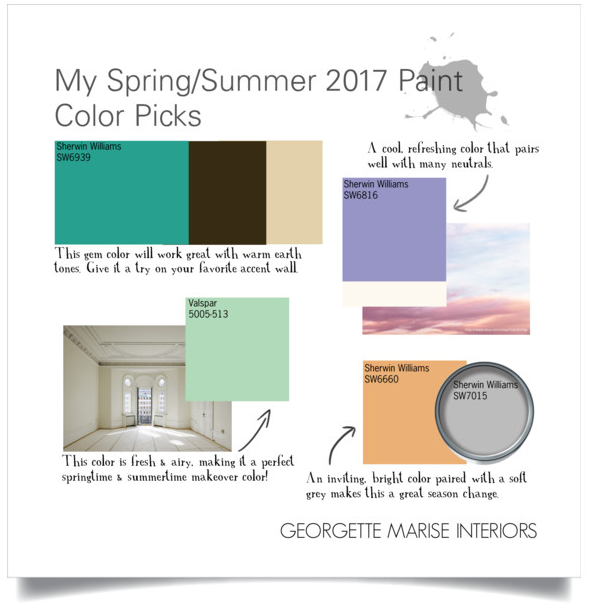 My top Paint Color Picks for this Spring and Summer.
