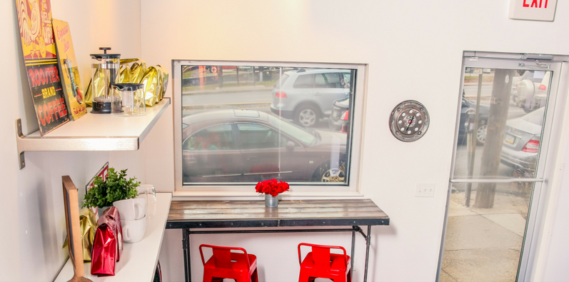 BEFORE & AFTER: Girls Auto Clinic Lounge with the Clutch Cafe and a custom work counter