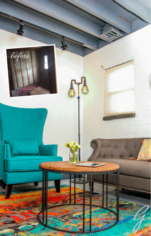 BEFORE & AFTER: Girls Auto Clinic TV Room with a custom floor lamp made of black pipes.