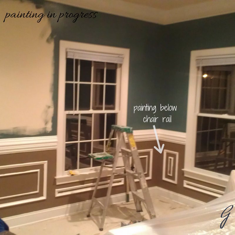 Living Room Makeover: darker wall colors were chosen to contrast with the existing neutral sofa.