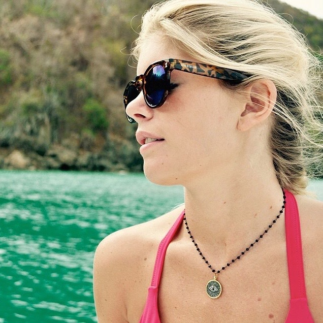 Franky's at sea! Darby is pictured wearing a Turkish Eye Evil Necklace!(Courtesy of @darbyfallon)