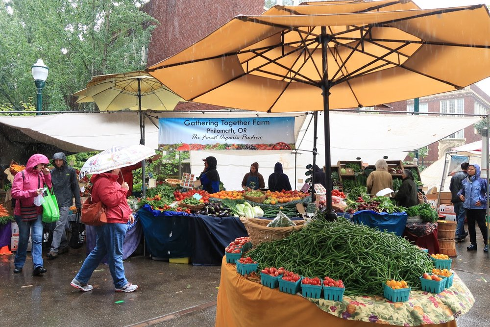 Farmers Market at PSU.  It rained little, but so many people were out shopping. Great products and amazing curation help this market so successful.