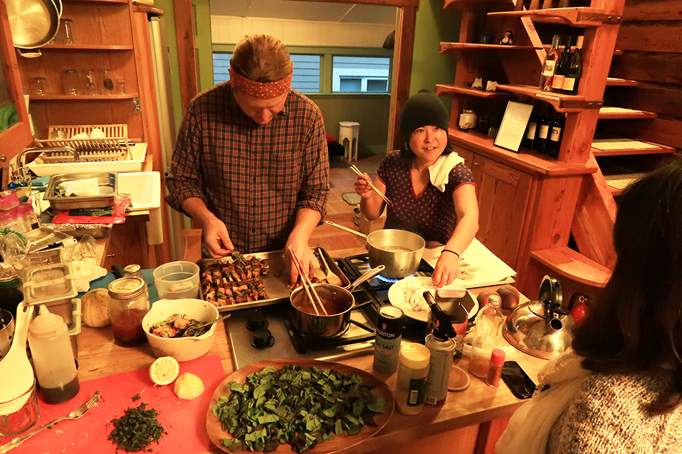 We organized a home party-style dinner at the Airbnb house we rented out. Dinner was prepared by Obon PDX.   Fumi and Jason used all local ingredients, and made amazing Japanese food.