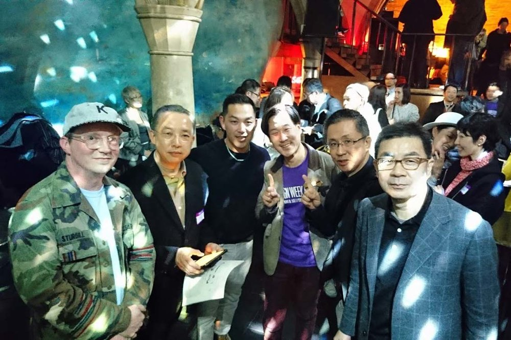 Opening party for Design Week Kyoto. From Left: Jason Sturgill (Uplift), Masayuki Morishita (Okayama Prefectural University), Katsu Tanaka (Uplift), Isao Kitabayashi (Design Week Kyoto), Takayuki Sakakida (The Kyoto Shinkin Bank), Eiryo Nishimura (Nishimura Securities Co.,Ltd.)