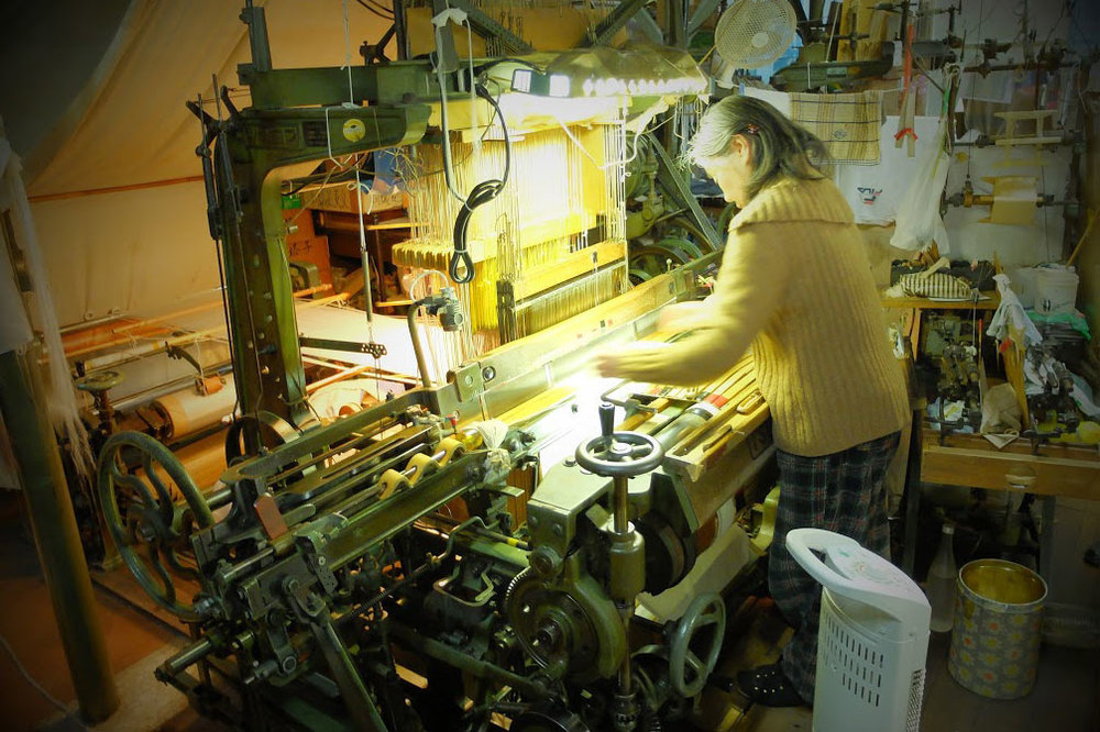 Hand weaving machine at Fukuoka Weaving