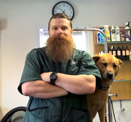 Matthew Blair    Lead Groomer   Matt is always around to answer any questions you might have about grooming. Don't let the beard scare you away. He's really a nice guy under there somewhere.