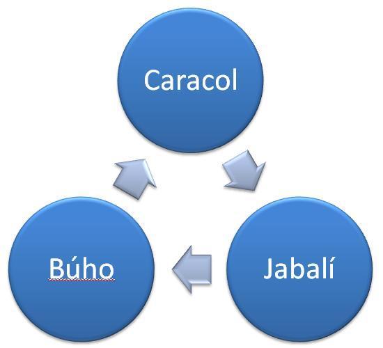 ciclo buho caracol jabali