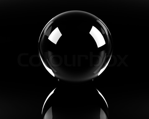 empty glass sphere on the black background