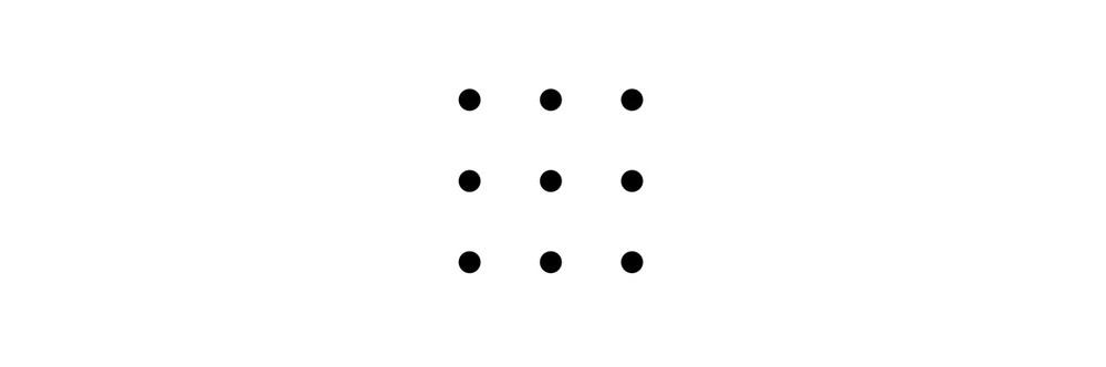 (Unir los seis puntos con cuatro líneas sin levantar el lápiz del papel)