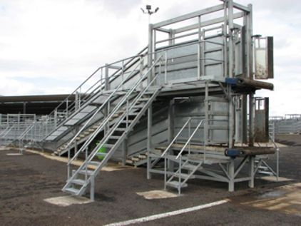 Double-deck under and over cattle loading ramp