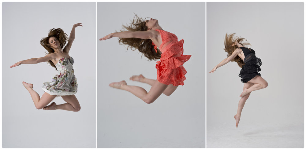 Triptych of dance jumps