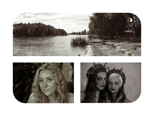 Above: Platinotype of Narrabeen Lagoon Below: L: Platinotype portrait  R: Wep plate collodion prortait (gothic inspired)