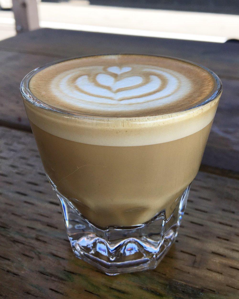 Cortado : 1/2 espresso, 1/2 foamy milk to reduce acidity.