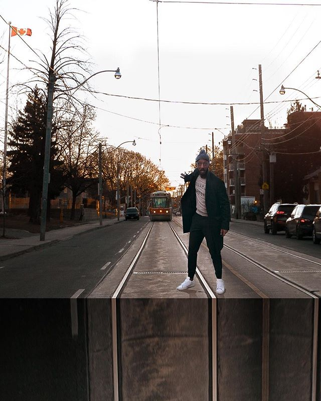 Throwback to that time I saved a streetcar... full of orphan children... on their way to fly Disneyland. Perception is reality. ⠀ #StayCreative 🚊 💭 ⠀ ⠀ Hope you're having a great week. Monochromatic outfit details below. 👇🏾⠀ Topcoat: @thekooples  Sweater: @selected_official  Pants: @clubmonaco⠀ Toque: @clubmonaco  Shoes: @adidas