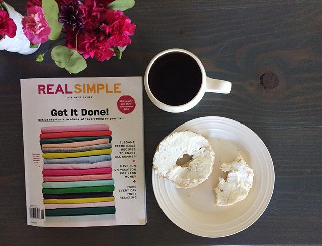 An unexpected day without childcare has me super sad for our cousin-nanny (you should get one - cousin-nannies are the best!), but super pumped for me. Coffee, I will linger over you longer. @real_simple , I will read this issue finally. And bagel, sweet bagel, get in my belly.  Because when all this is done, the four of us are going to @target together and moms everywhere know how dicey that is. 🤞🏼😬 #womenirl