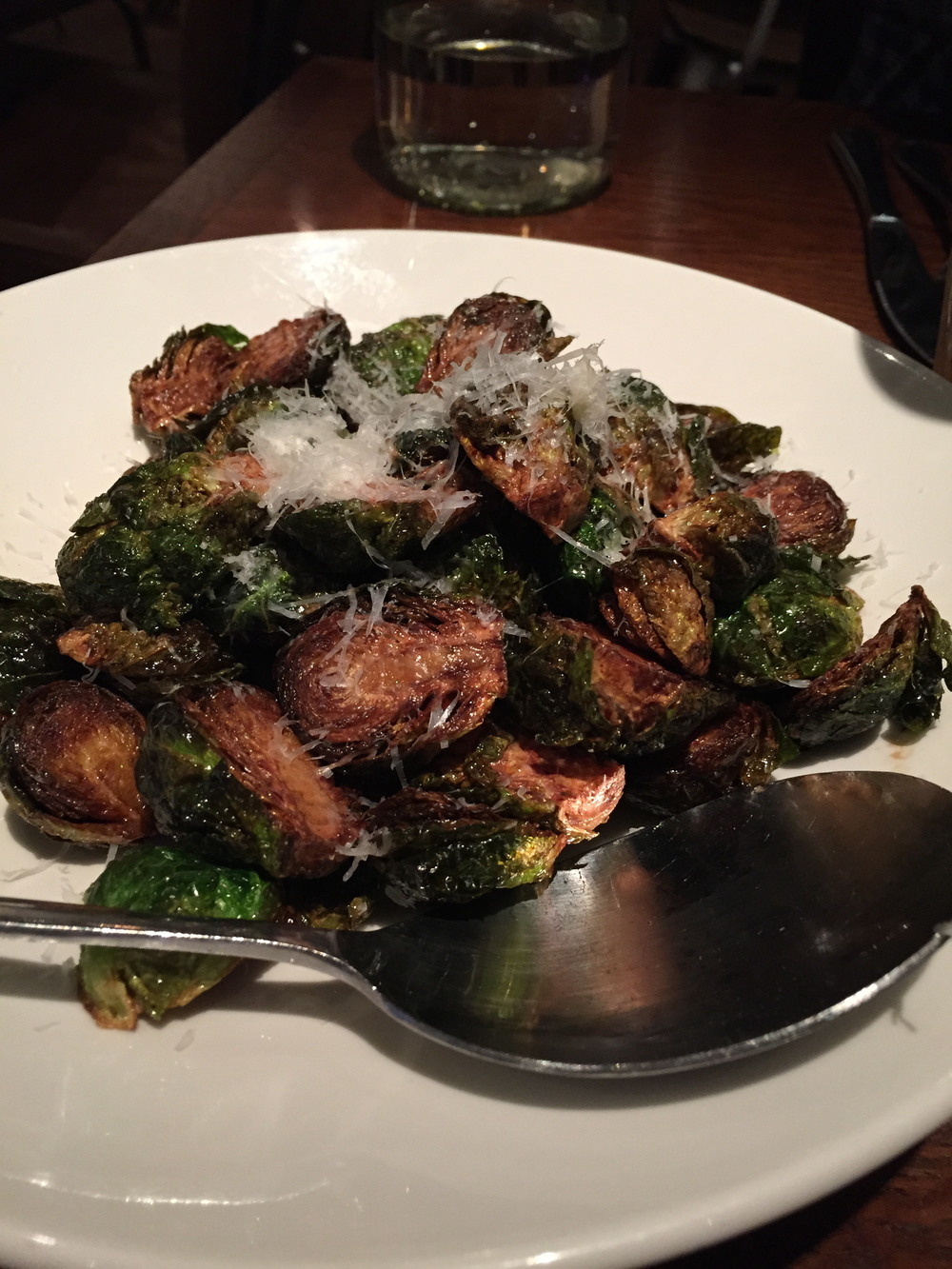 Brussels Sprouts    Once again, really ugly picture, and REALLY AMAZING DISH! I'm so sorry my photography skills are so bad because I actually liked these more than the pizza, which I never thought could happen. They really are THAT GOOD!!!