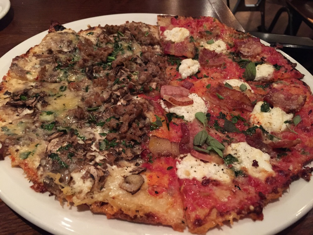 The gluten free star of the show. The right side is gluten free goat cheese with applewood smoked bacon, etc. The left side is the mushroom heaven with sausage added. YUM!