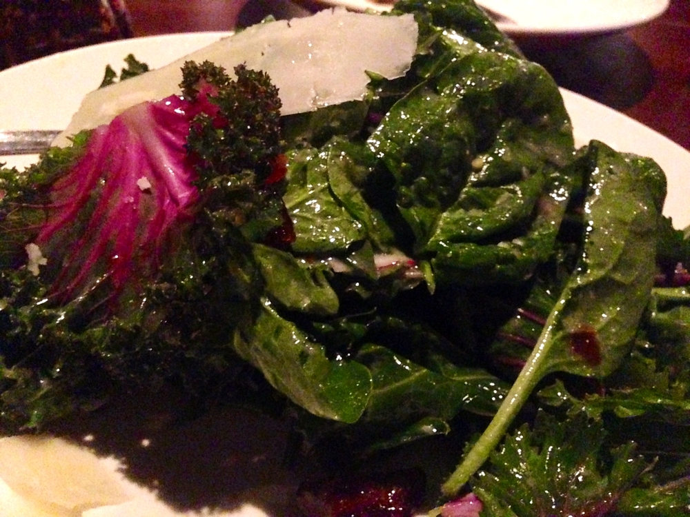 Heirloom Spinach and Purple Kale Salad:  Medjool dates, pecorino, cracked black pepper, mustard vinaigrette, lemon zest  SOO Fresh and delicious!