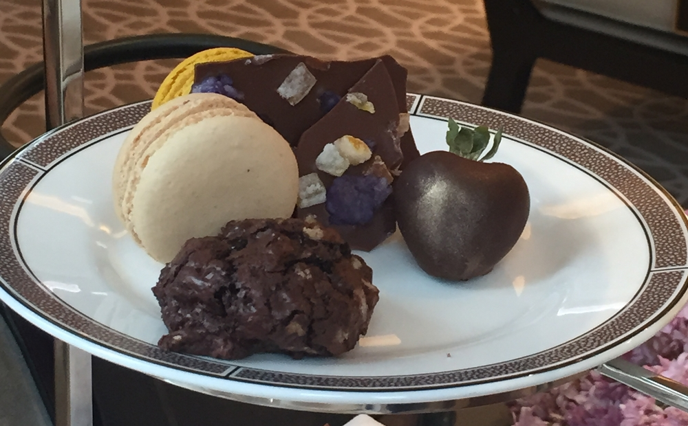 The chocolate cookie I was referring to above is at the front of this plate.  The macaron was really good, and how can you go wrong with a chocolate covered strawberry? I mean, the desserts tasted good, but as far as fun and exciting gluten free options, I was underwhelmed after what I had experienced at the Peninsula.