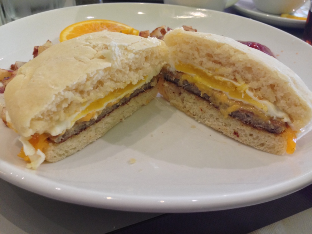 The bread wasn't amazing, but it was pretty good, and who doesn't love a gluten free breakfast sandwich?!