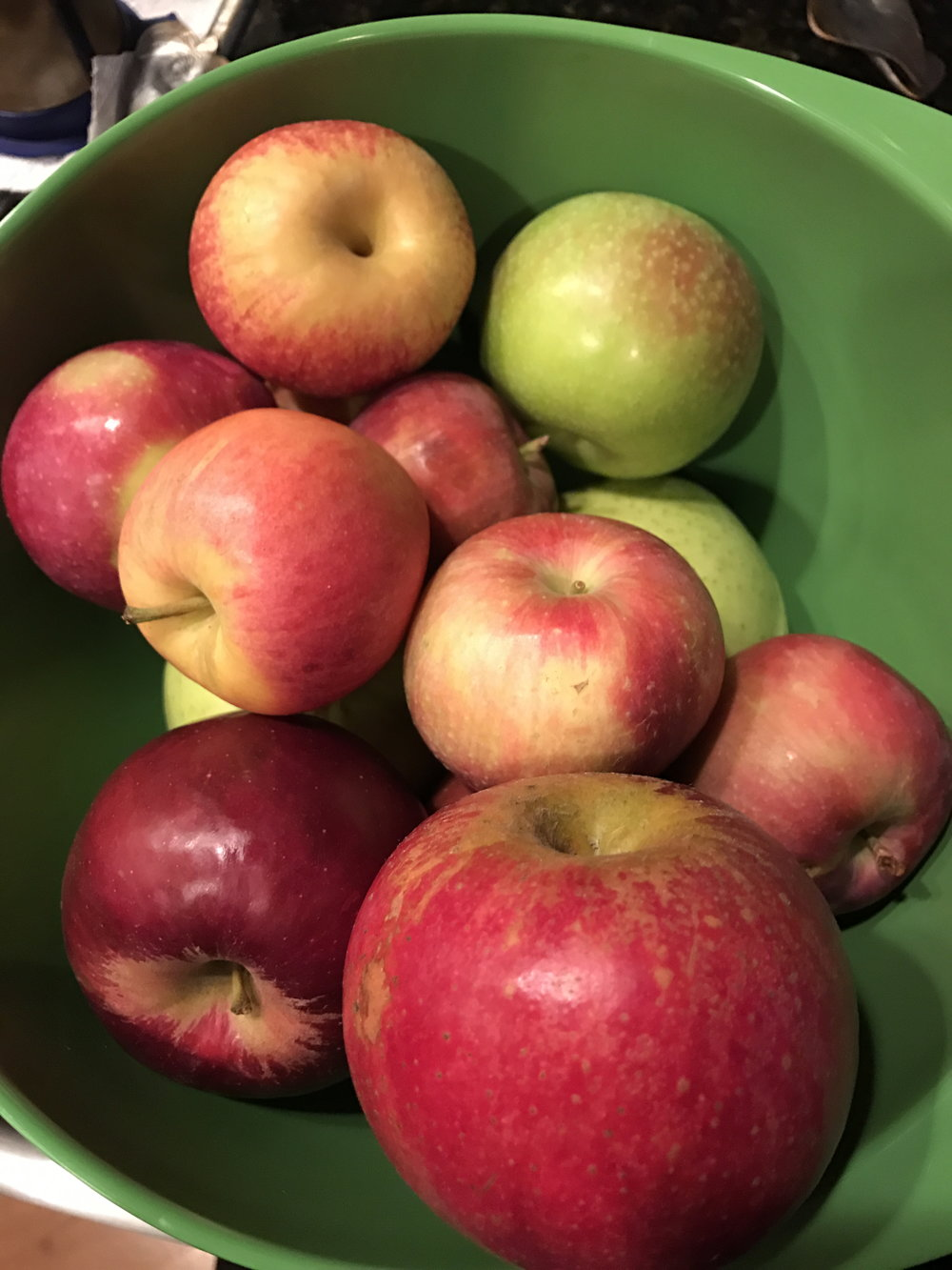 Here is our loot from the apple orchard. I have no idea which is which, so I just put a random mix of apples in the crisp.