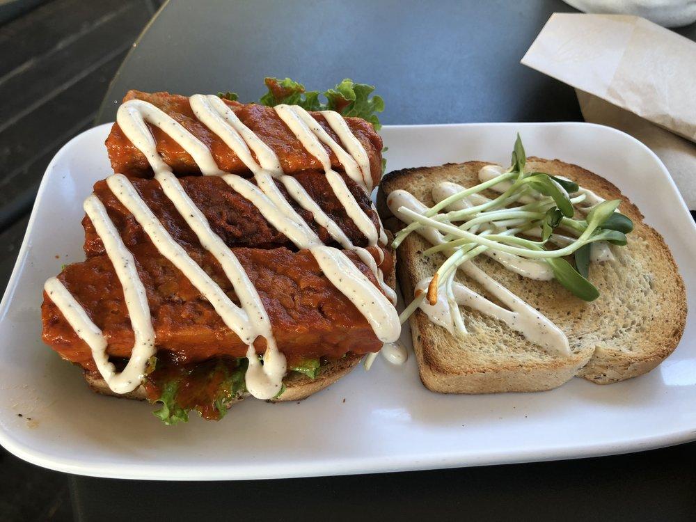 Gluten Free Buffalo Tempeh Sandwich. What What!?