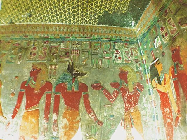 Anubis and friends.  Valley of The Kings.  Luxor.  #valleyofthekings #egyptians #egypt #gods #painting #ancient #tomb #anubis #luxor #ancient #art #afterlife