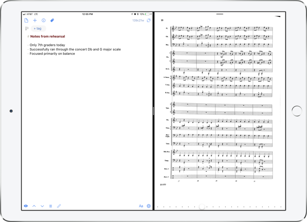 Drafts pairs perfectly with the sheet music app forScore in split view mode.