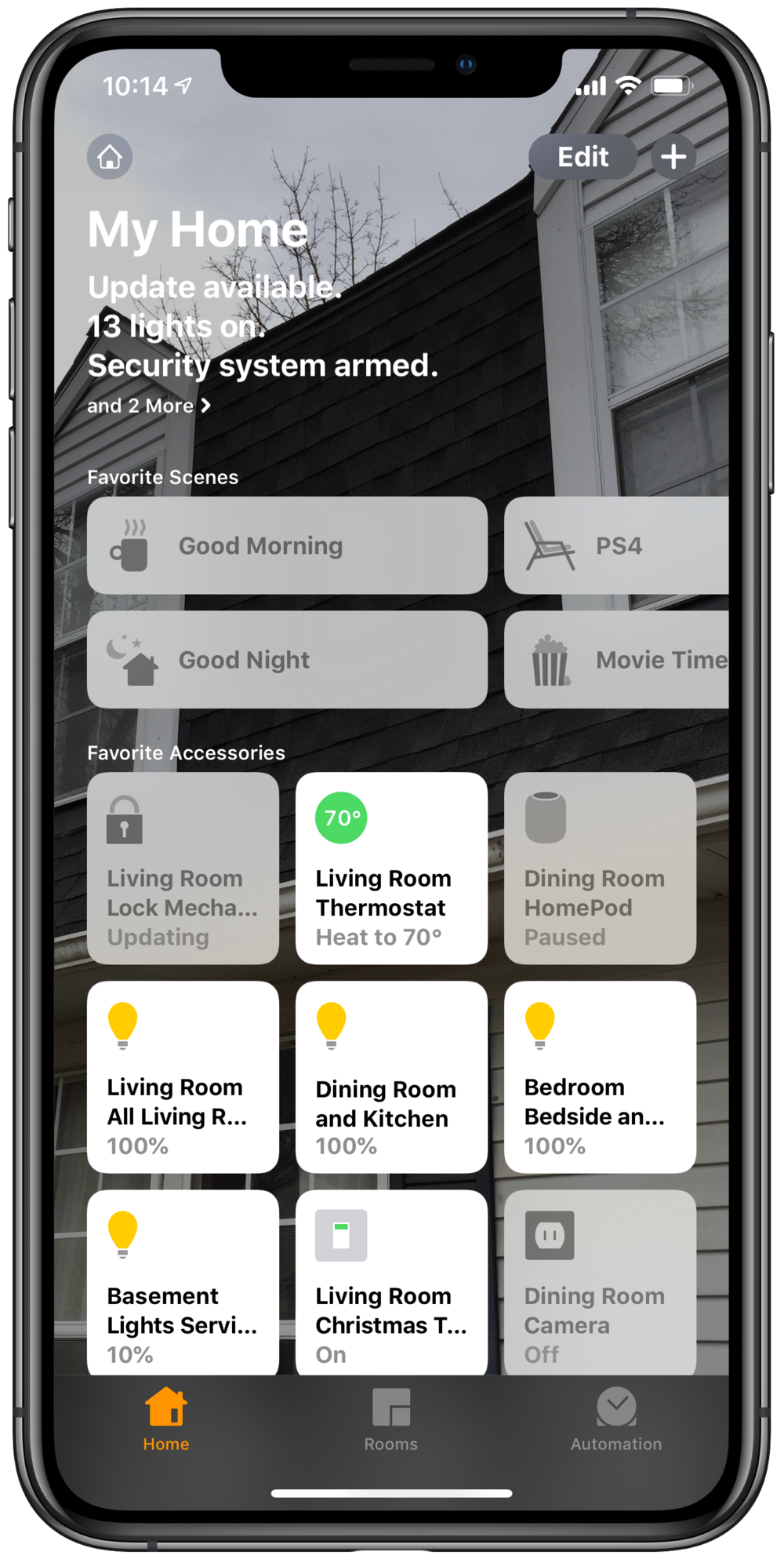 The My Home view in Apple Home shows my most used home automation devices and 'scenes.'