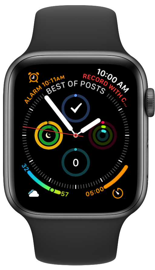 My Apple Watch Series 4, with my 'status circle.' watch face. When I am not taking screenshots at 2 am, the blue status ring on bottom represents the water I drink in the Hidrate Spark water bottle.