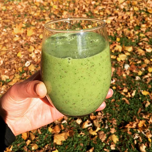 A post-run green smoothie, it's such a gorgeous fall day I had to drink it outside 😀💚. It's got kale, 2 kiwis, 1/2 an avocado, lime juice and some collagen for protein  #greensmoothie #drinkyourgreens #healthy #fit #collagenhydrolysate #paleo #eatrealfood #eatwellbewell #kmtherapyandwellness