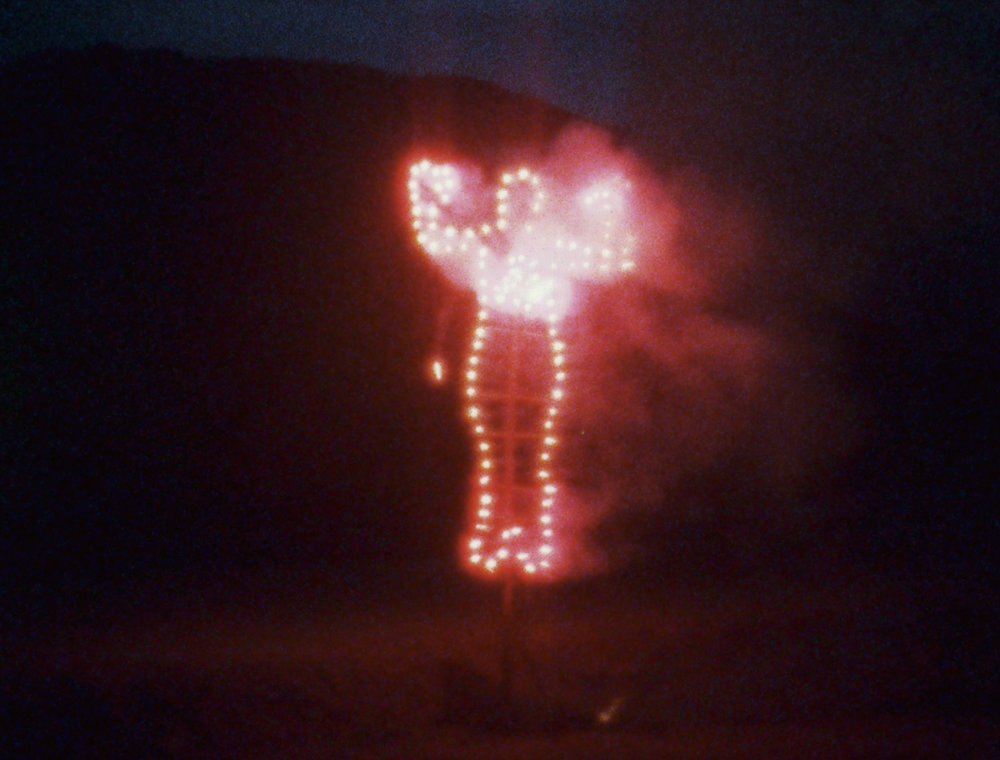 Ana Mendieta, Anima, Silueta de Cohetes (Firework Piece), 1976. Still from super-8mm film transferred to high-definition digital media, color, silent. Running time: 2:23 minutes. (c) The Estate of Ana Mendieta Collection, L.L.C. Courtesy Galerie Lelong & Co.
