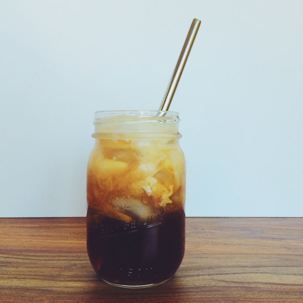 Flavorful black tea made like iced coffee with cream and a touch of sweetness