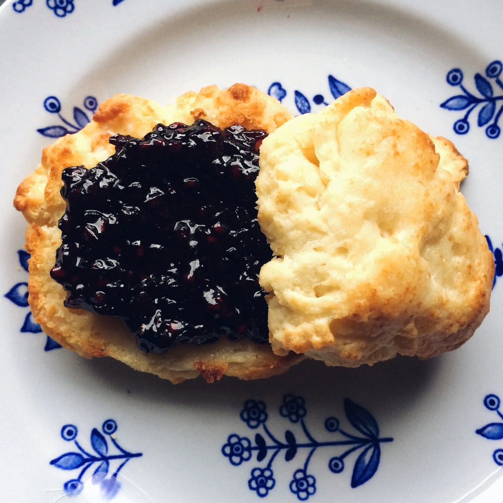 Quick and easy from-scratch biscuits with homemade blackberry jam