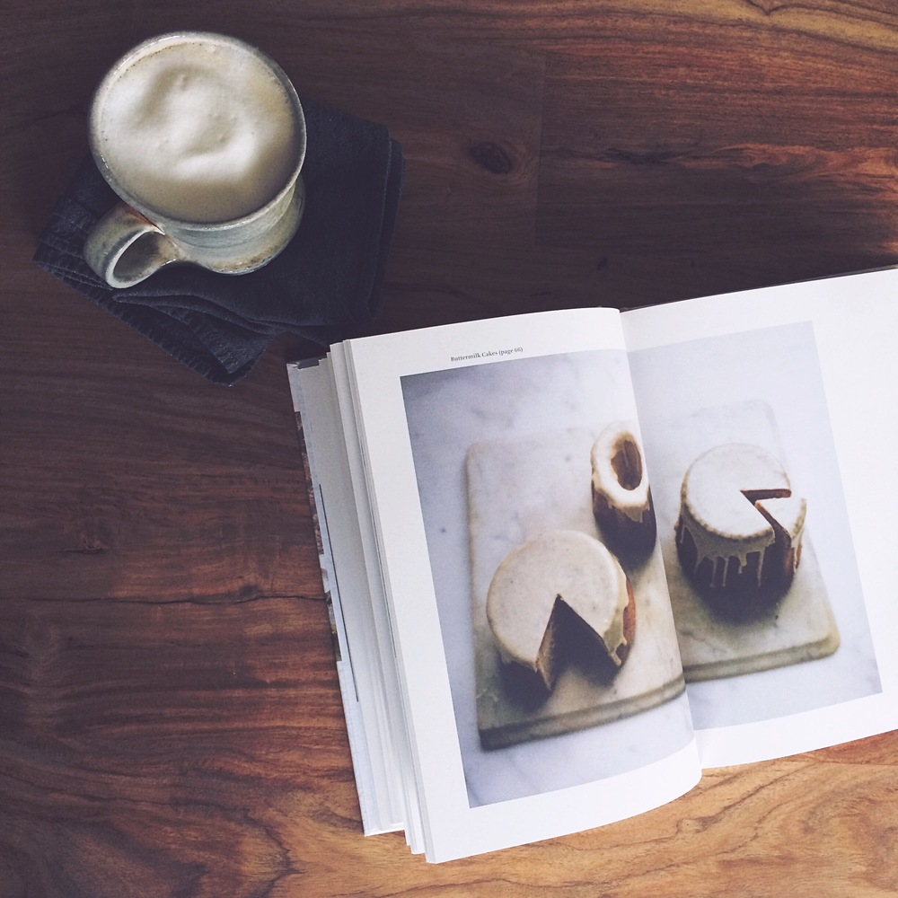 A tea latte and a lovely book (Heidi Swanson's Near and Far cookbook) to flip through.
