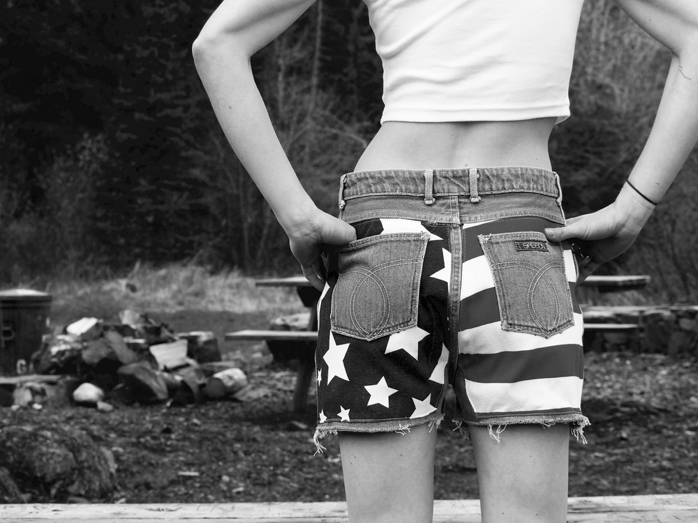 vintage American flag cut off shorts - coming soon