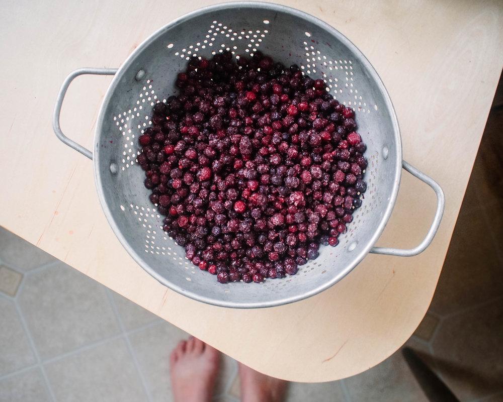 making huckleberry jam
