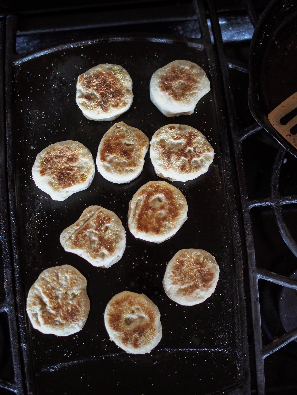 sourdough english muffins with a starter