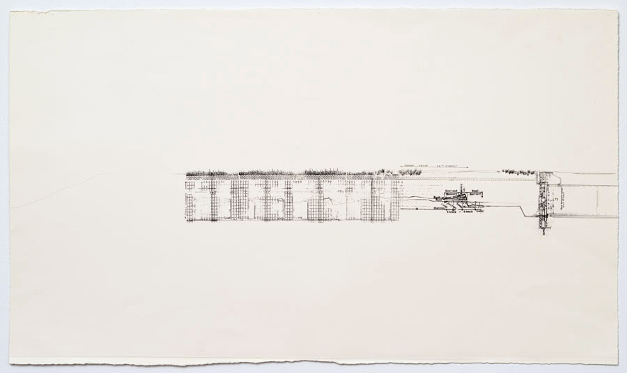 Cut and Cover - II   2011  10 in. x 28 in.  Ink, pencil, on paper