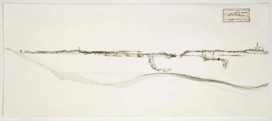 Cut and Cover - V   2011  10 in. x 28 in.  Ink, pencil, on paper
