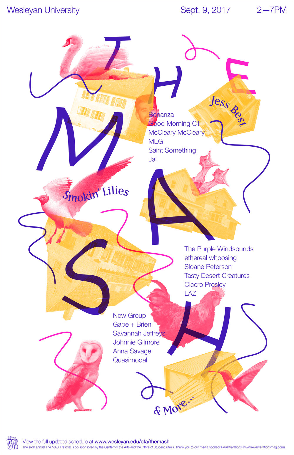 Poster (2016) designed for THE MASH student-run music festival, commissioned by Wesleyan's Center for the Arts.