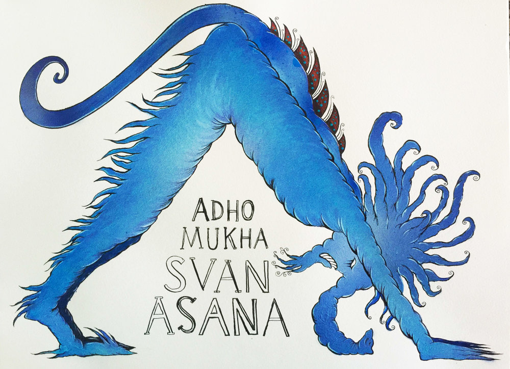 ADHO MUKHA SVANASANA (ONE IN A SERIES: YOGA POSES AS MYTHICAL CREATURES)