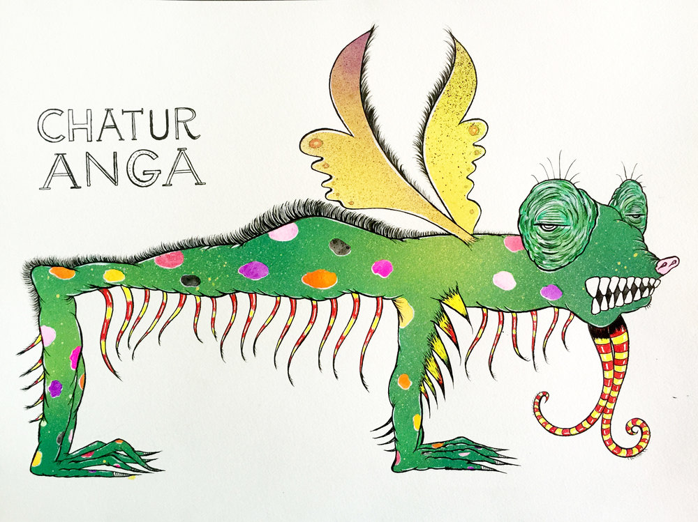 CHATURANGA (ONE IN A SERIES: YOGA POSES AS MYTHICAL CREATURES)