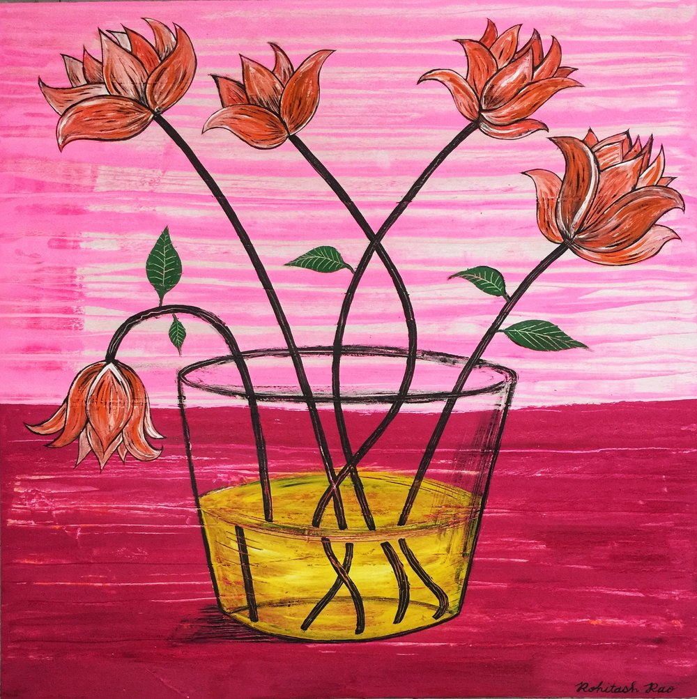 FLOWERS WILTING IN GLASS BOWL