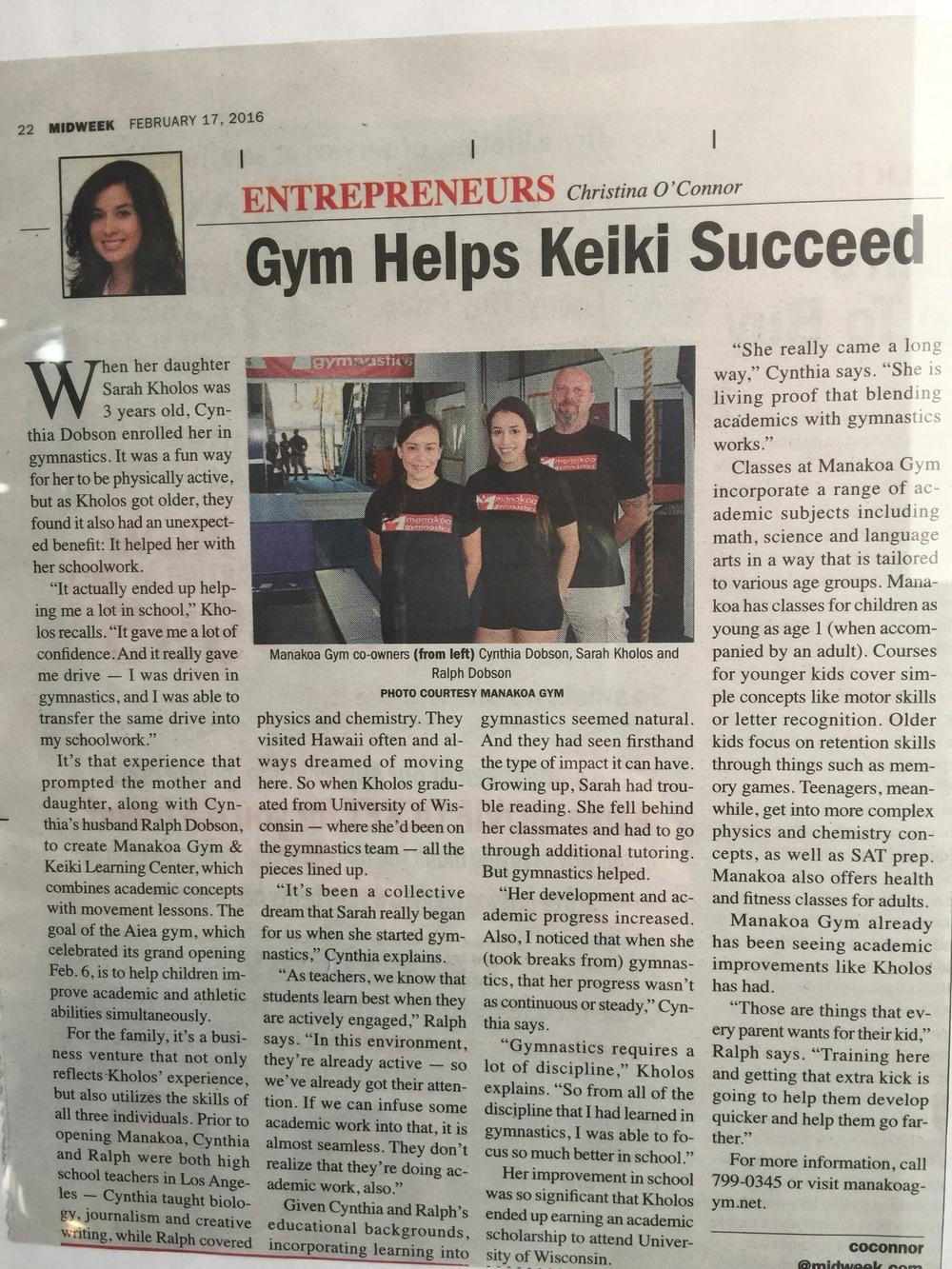 Manakoa Gym Helps Keiki Suceed