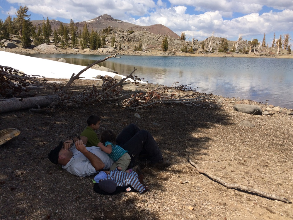 My husband trying to relax by Frog Lake, alas he cannot.