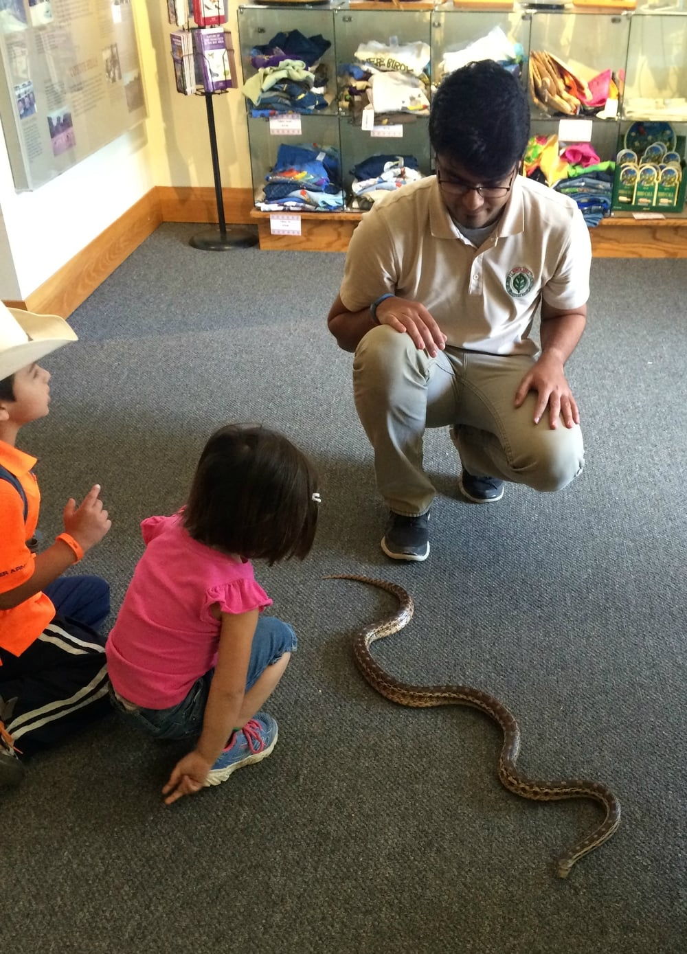 "Teaching my children all about ""Socks"" the gopher snake at Coyote Hills Regional Park."