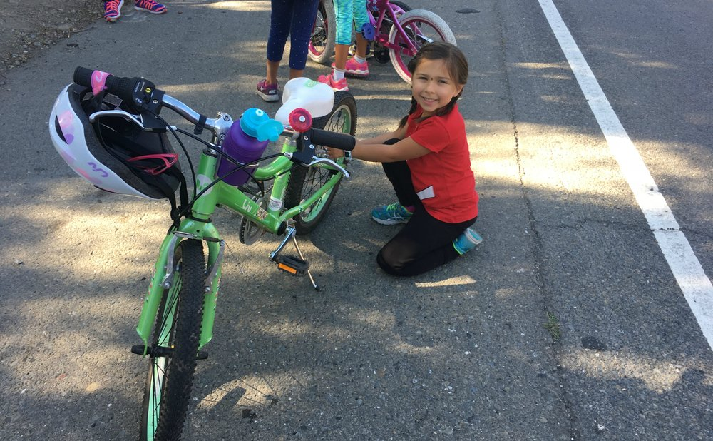 Working on her Bike!