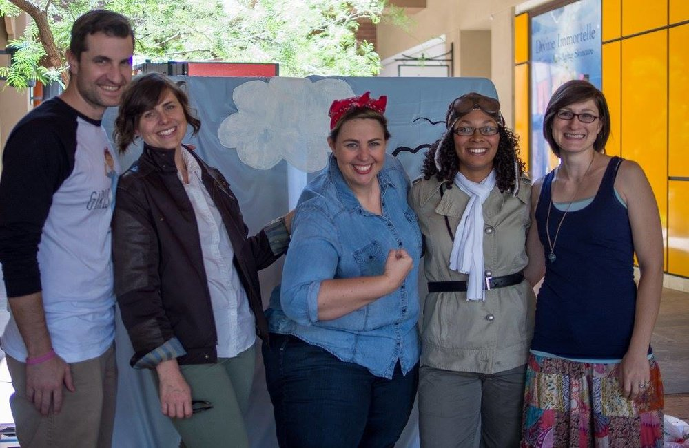 It takes a village. Josh, Megan, Kristen, Alison, and Eva at an event in Tucson last year that introduced little ones to Bessie Coleman. Josh is GCC's resident photographer and Eva's helped us pack our crates.